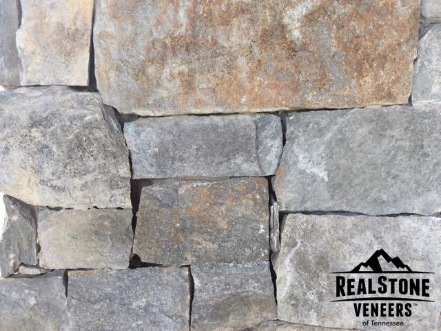 Chocolate Gray Limestone Veneers Flagstone Wall