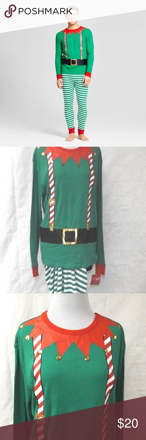 Men's Christmas Elf Pajama 2 Pc. Set Green/Red M Elf
