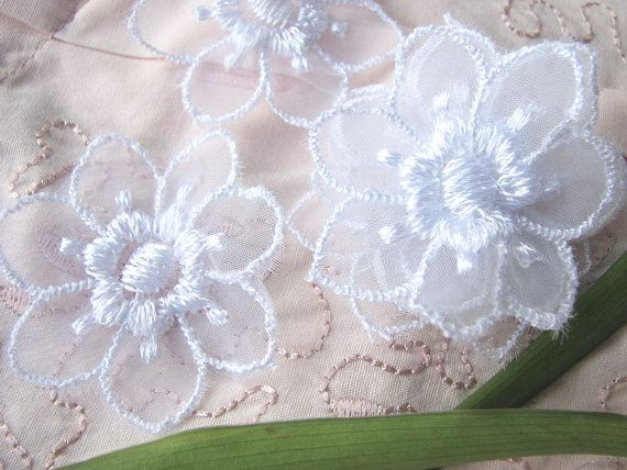 NEW 48pc Embroidery Organza Bridal Flowers WHITE by LaceMaMa
