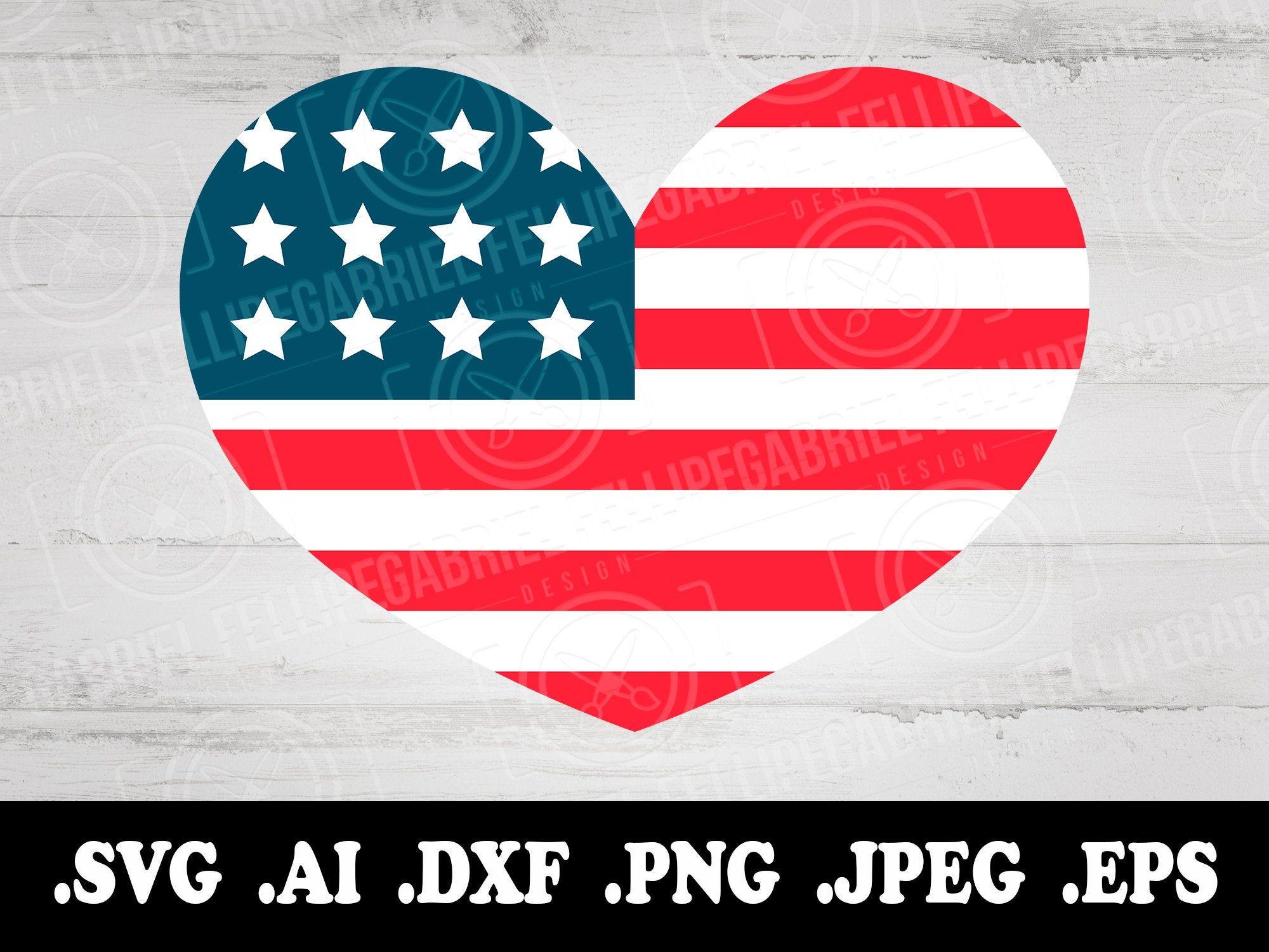 Download USA Heart Flag SVG, Independence day svg, American Flag ...