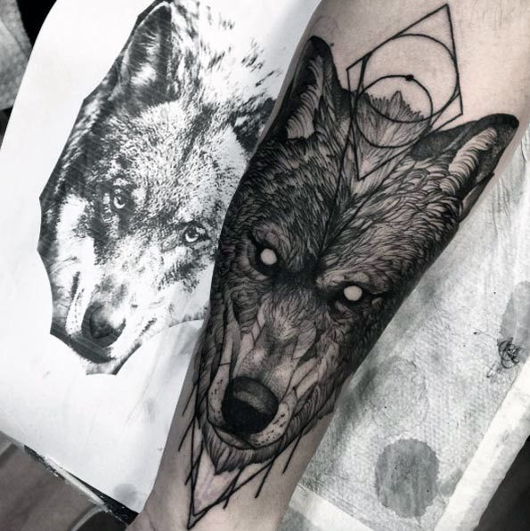 Geometric Wolf Sleeve: 40 Wolf Forearm Tattoo Designs For Men