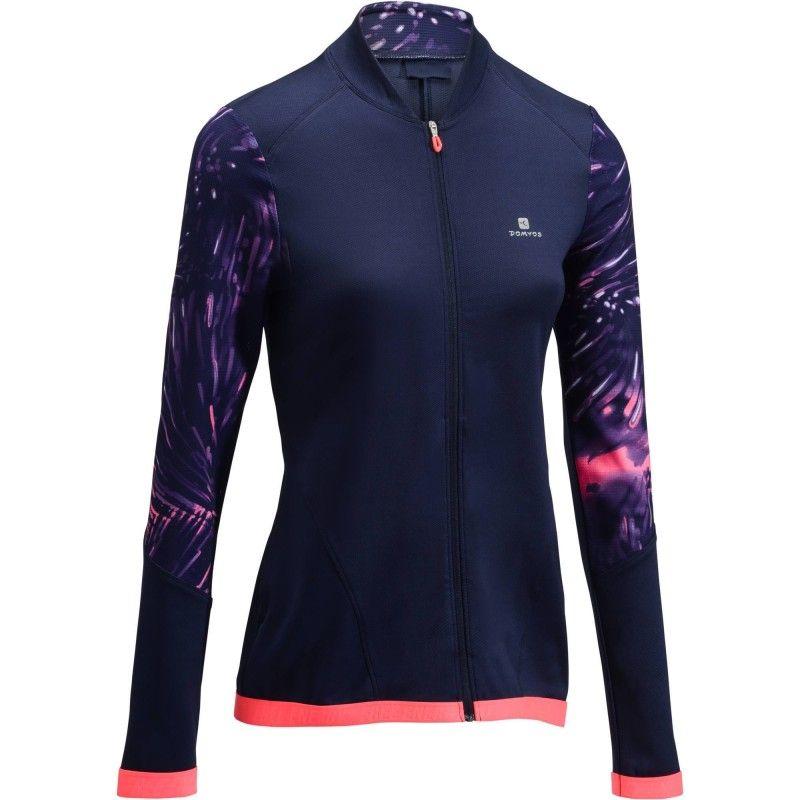Fitness cardio Abbigliamento donna - Felpa donna 500 blu-rosa DOMYOS -  Parte alta 799d7ef9ed95