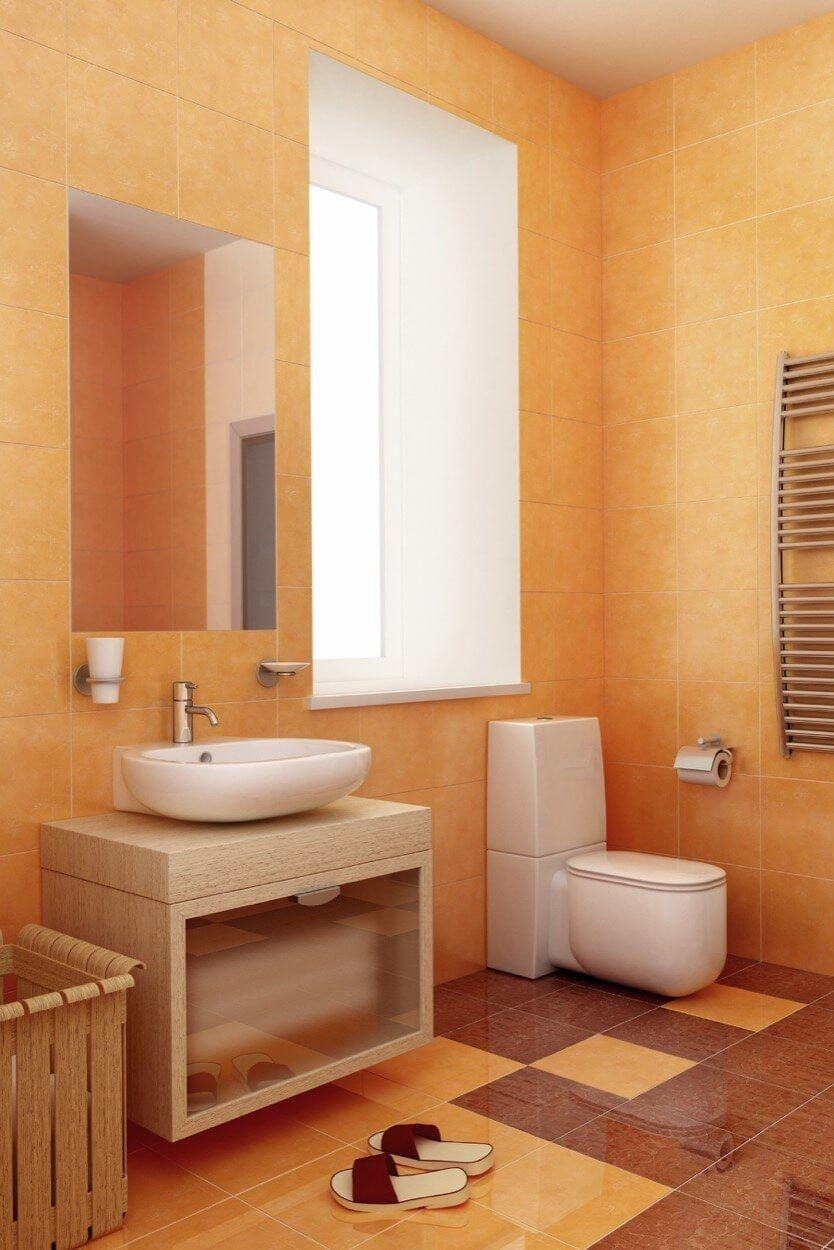 Brown And Orange Colors With Single Vanity Orange Bathrooms