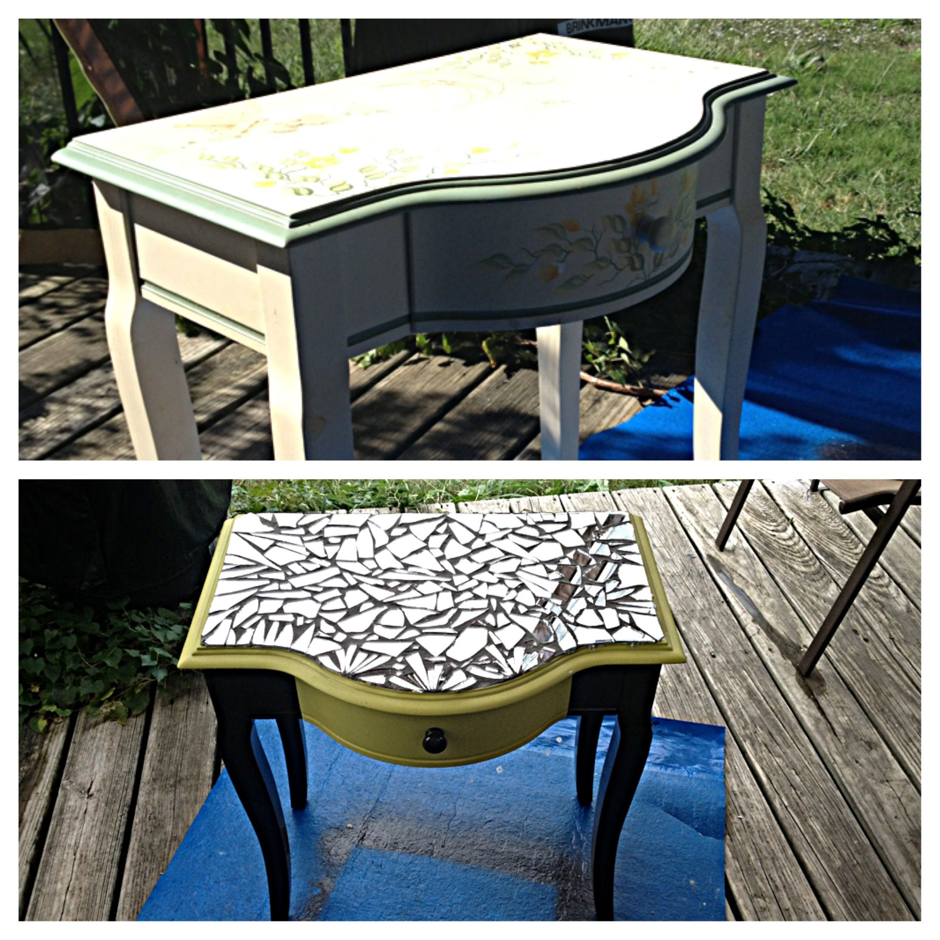 Broken mirror mosaic end table before and after mirror