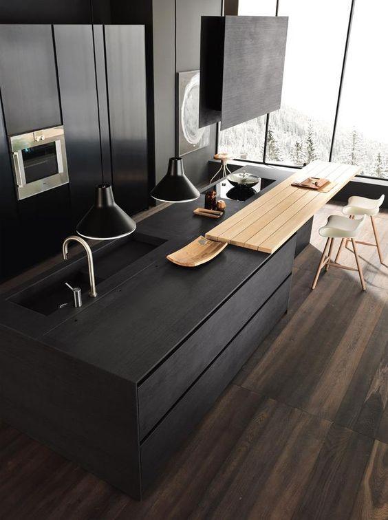 schwarze Küche Küchen Pinterest schwarze Küchen, Küche und - moderne wasserhahn design ideen