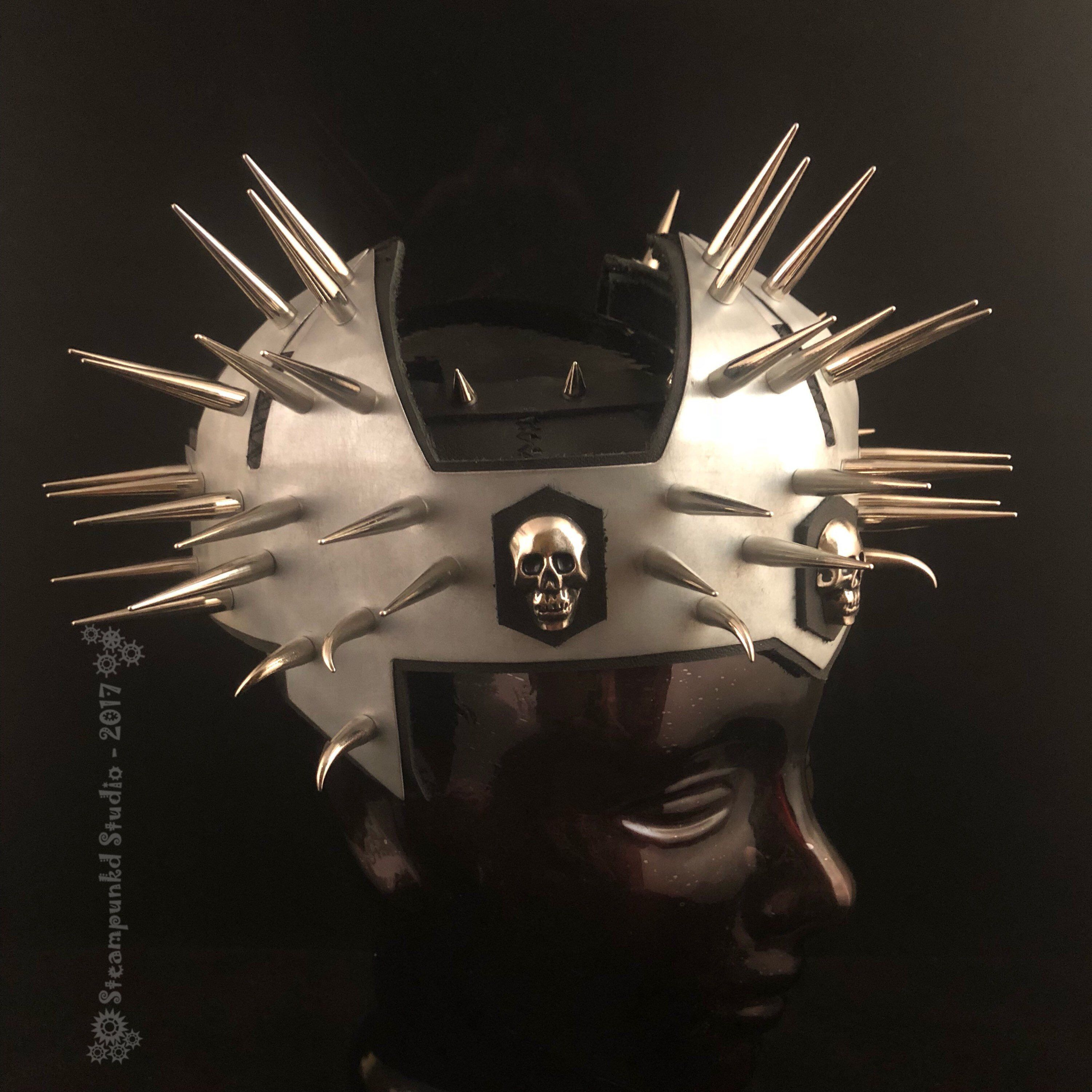 Spiked Skull Leather And Steel Crown Skull Steel Sheet Metal Leather