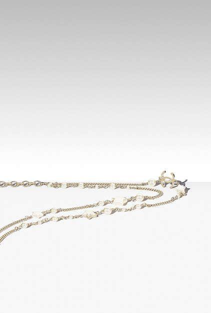 Collier, métal, perles d imitation   résine-doré   blanc nacré - CHANEL 0c17753034f