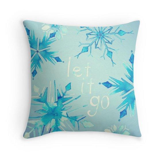 Frozen Pillow Cover Let It Go Ice Blue Watercolor Snow Snowflakes Pale Blue Nursery Decor Gi Pillows Pillow Covers Decorative Throw Pillows