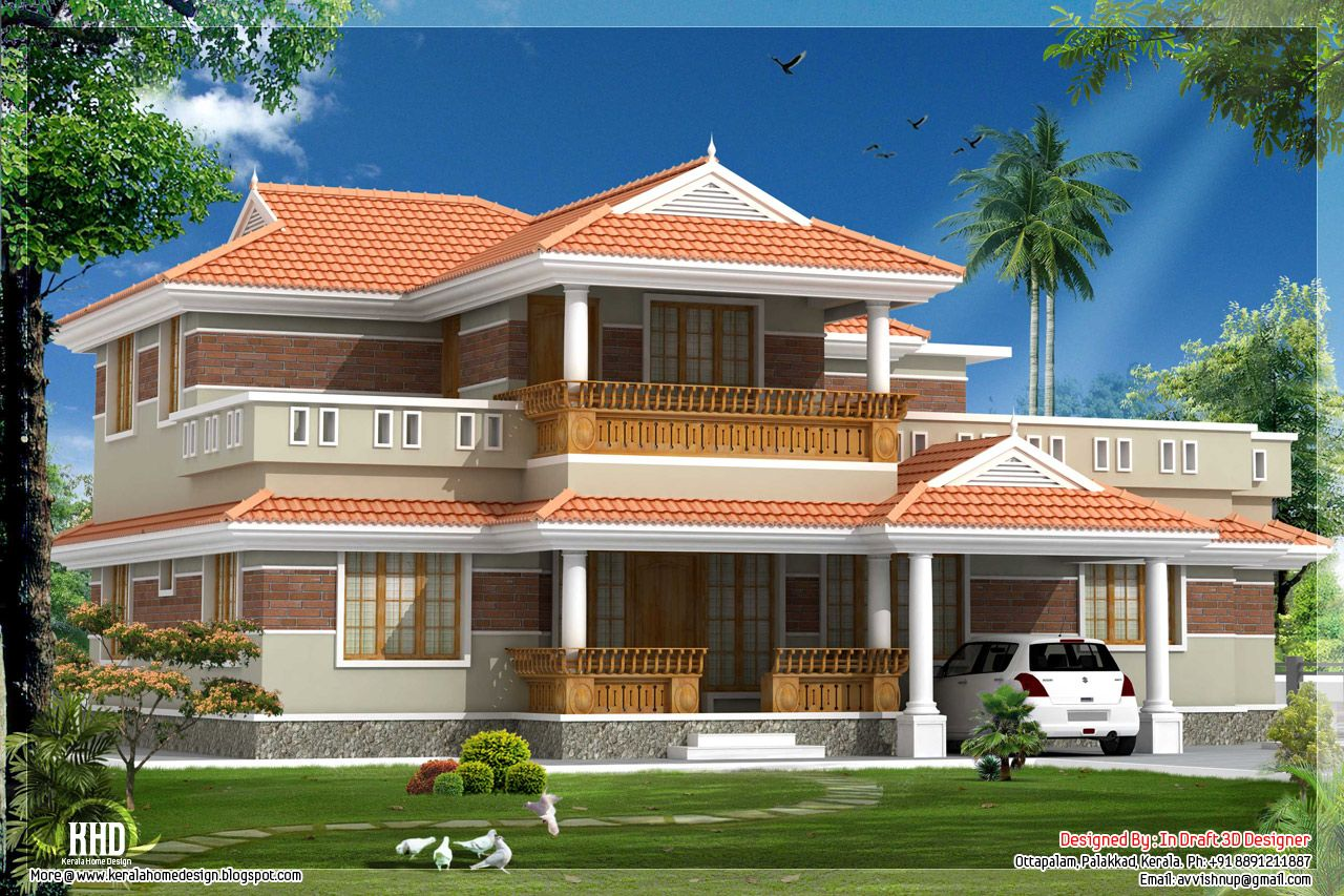 Modern And Traditional Big House In Kerala Hd Image