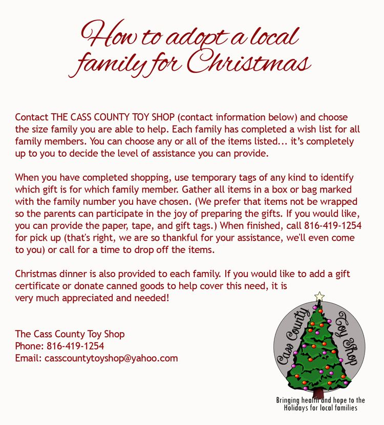 How to adopt a family for Christmas. The Cass County Toy