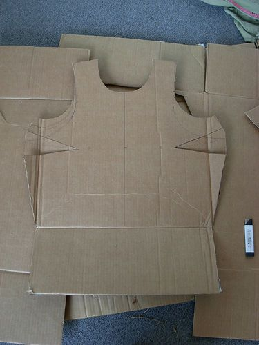 Cardboard armor david goliath pinterest karton for Cardboard armour template