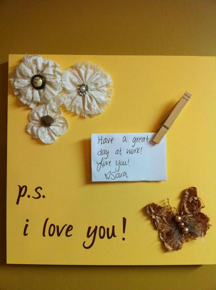Cute little wall decor to put note on! I used: Wood backed canvas ...