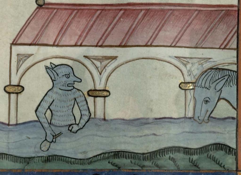 """mare nostrum on Twitter: """"ヨハネの黙示録14:20「血が酒ぶねから流れ出て、馬のくつわにとどくほどになり、一千六百丁にわたってひろがった。」 困った顔になっている。 14世紀 Cambridge,Trinity College MS B.10.2 f.29r http://t.co/2P4WO8ryoe"""""""