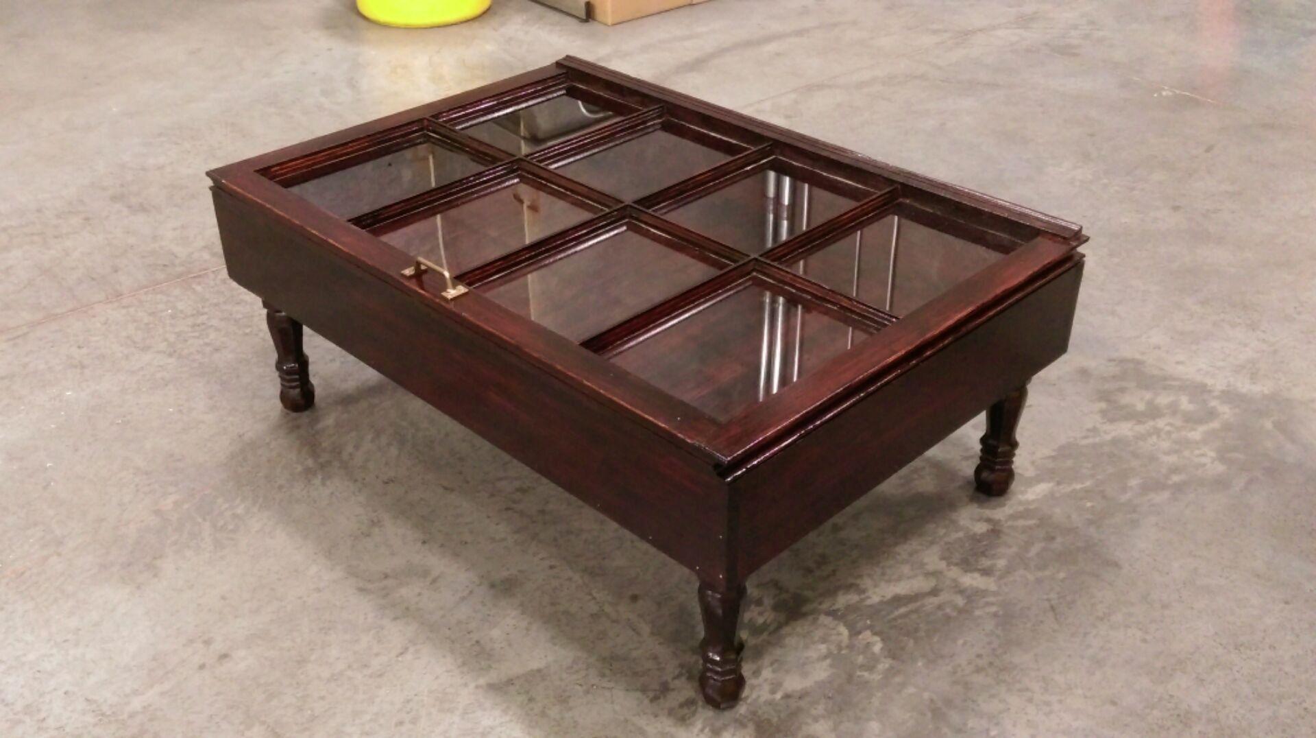 Beautiful wood shadow box coffee table window coffee table