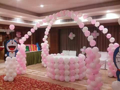 Cross Balloon Arch For One Year Old Baby Girl Birthday Theme Pink