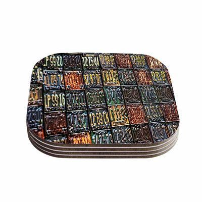 "KESS InHouse ""Rusted License Plates"" 4 Coasters Set"