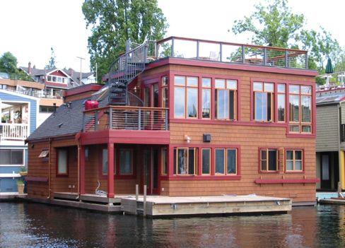 Lake Union House Boat Seattle Wa Floating House Water House Houseboat Living