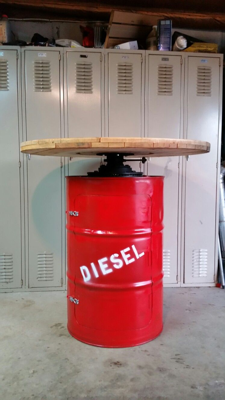 55 Gallon Drum Table Repurposed Barrel Bar Height 42 High 42 Around Inside Shelves Firehouse Bar Garage Furniture Drum Table