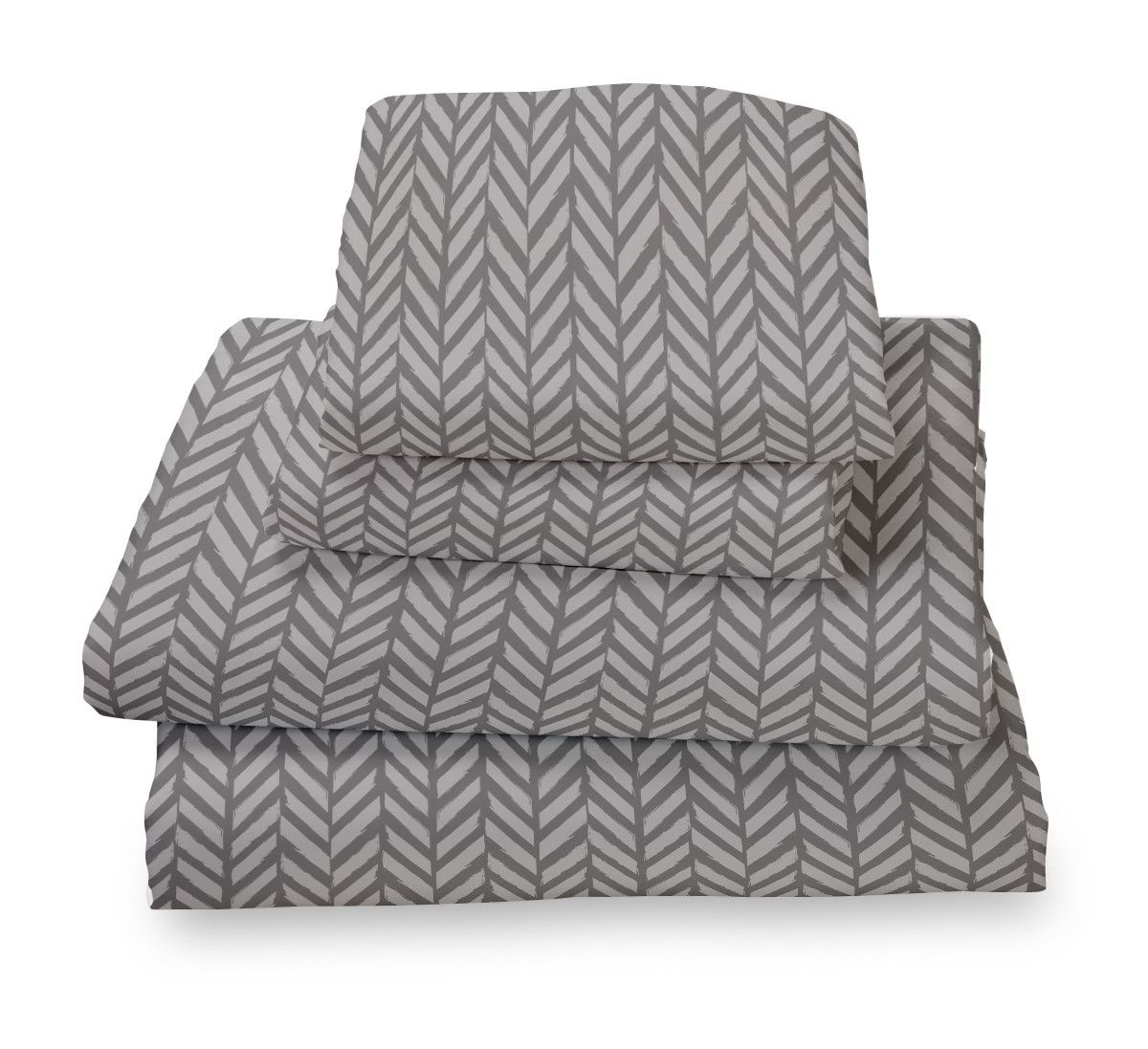 Grey Herringbone Ultra Microfiber Bed Sheet Set