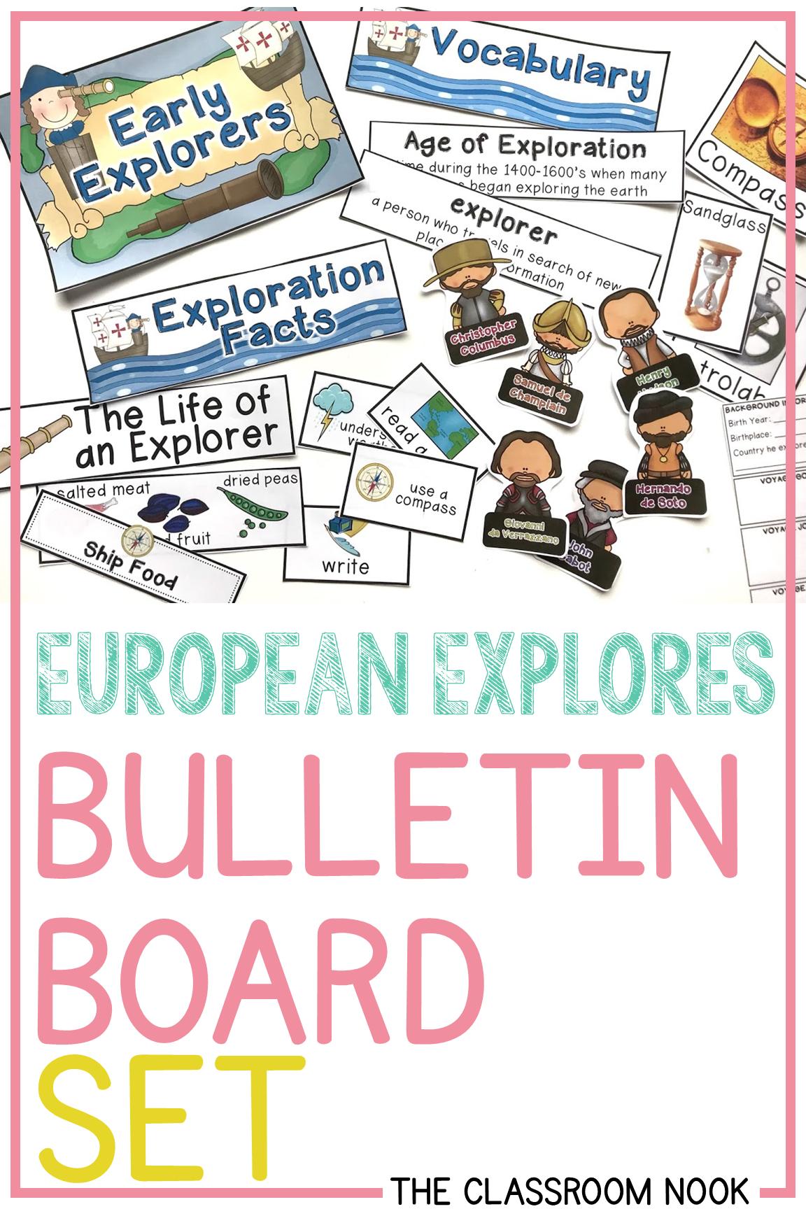Early European Explorers Bulletin Board Set Bulletin Board Sets Third Grade Social Studies Social Studies Lesson