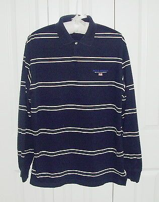 ad11d2a6065 Polo SPORTSMAN Ralph Lauren Navy Vintage 90s Rugby Shirt Stripes Flag Logo  Large