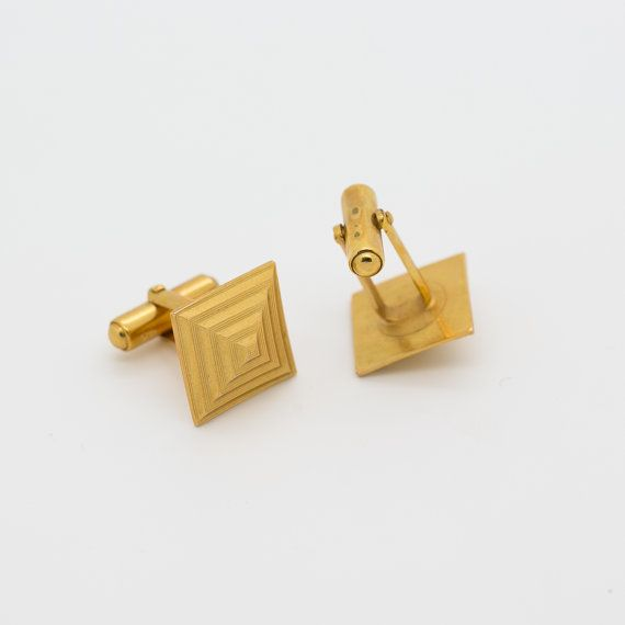 Cufflinks Square Vintage Gold Tone Pyramid Antique Wedding Gift Clic French Style Unique Accessory Egyptian