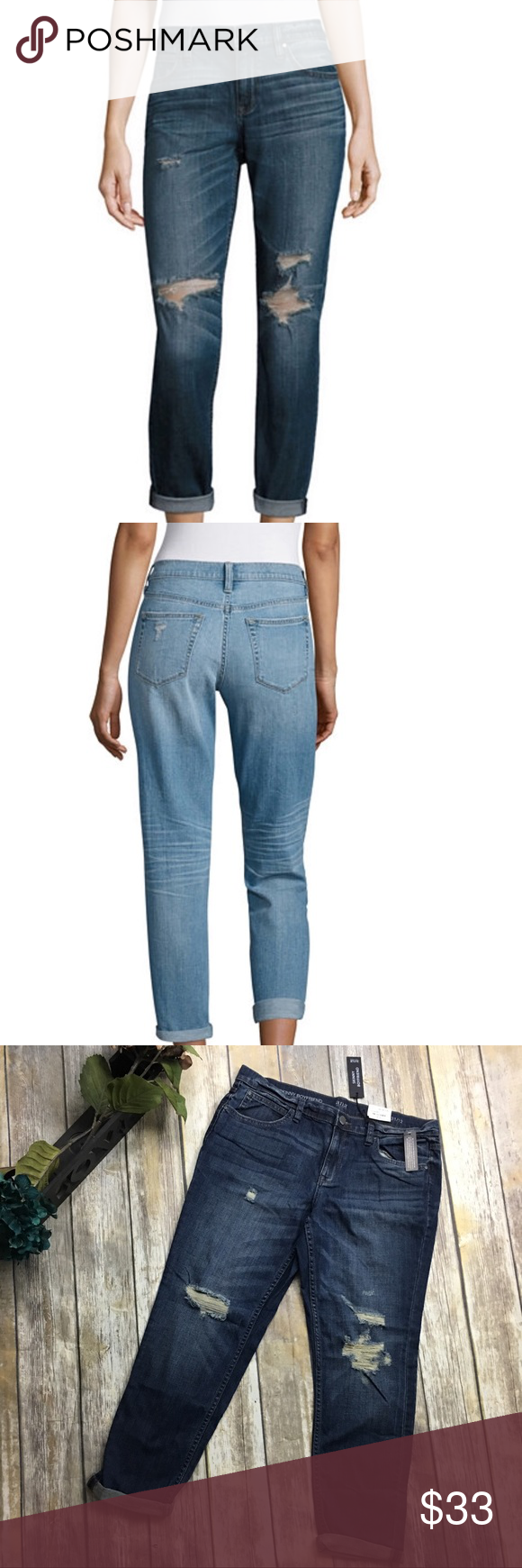 🎈 A.n.a Skinny Boyfriend Cropped Jeans Skinny Boyfriend distressed denim cropped pants. Size 31/12 with 26 inch inseam. Rolled pant bottoms that can be unrolled. New with tags. a.n.a Jeans Ankle & Cropped