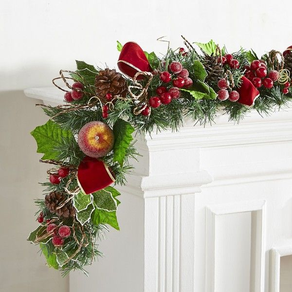 Pier 1 Imports Faux Apple Holly Berry 6\u0027 Garland featuring polyvore - christmas home decor