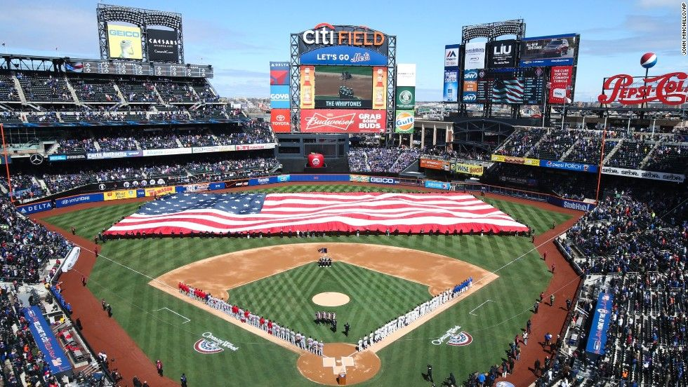 A Giant American Flag Is Unfurled At Citi Field In New York Before Major League Baseball Between The Mets And Washington Nat