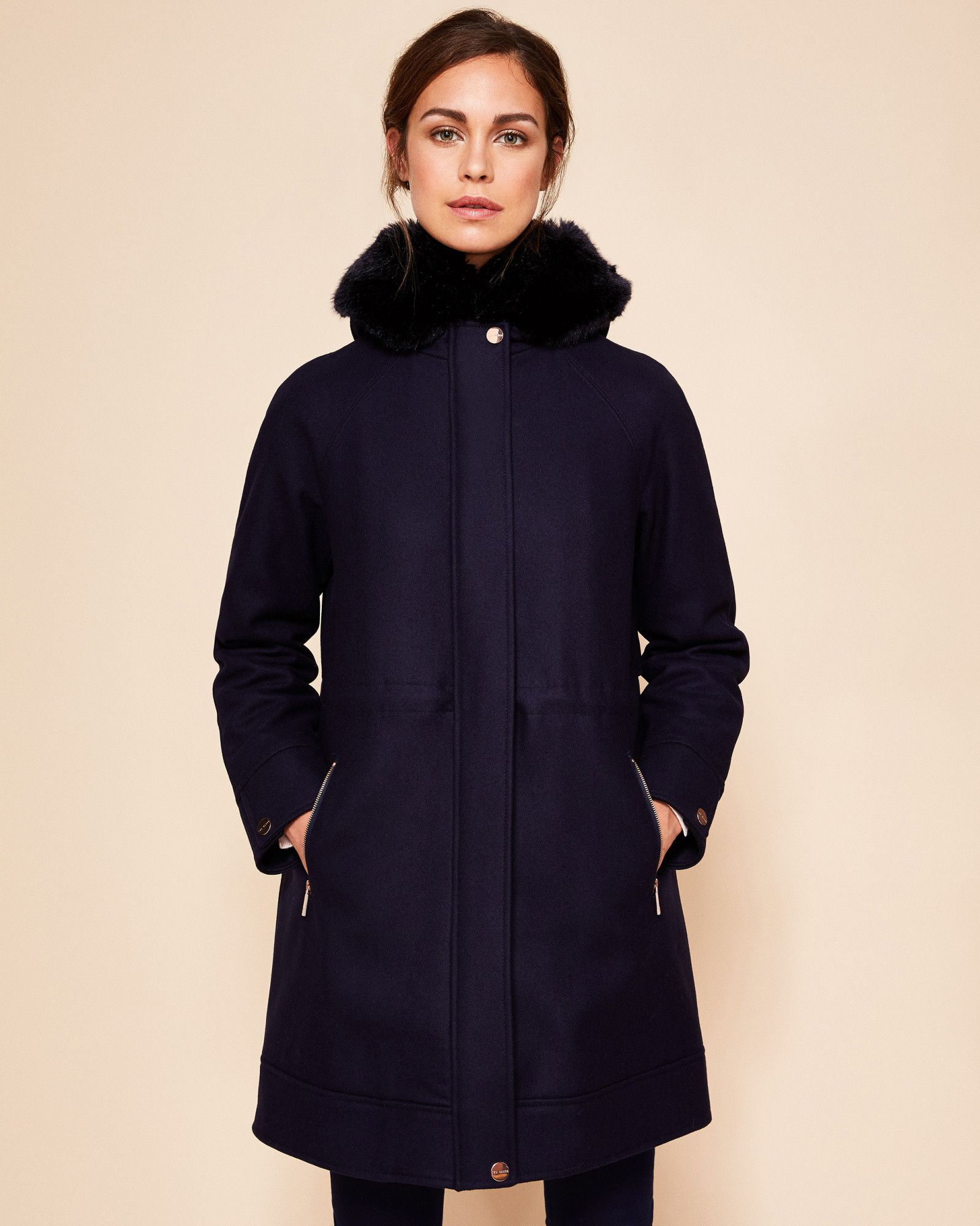 Ted Baker Wool and cashmere-blend hooded parka Navy