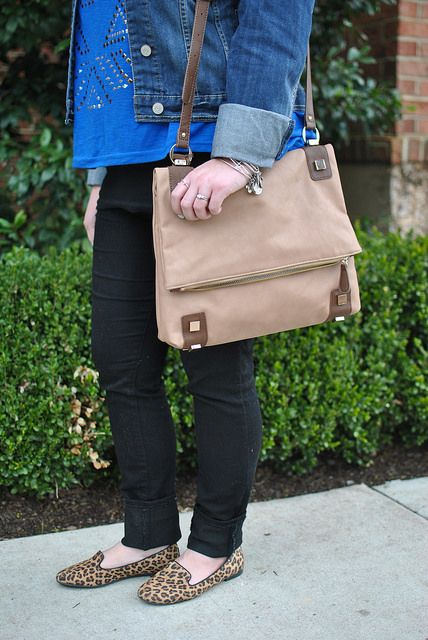 Head to Toe Chic: messenger style bag and leopard loafers