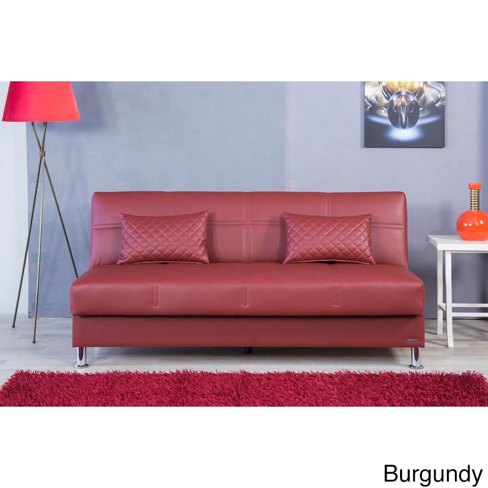 Eco Rest Contemporary Faux Leather Sleeper Sofa (Zen Burgundy), Red ...