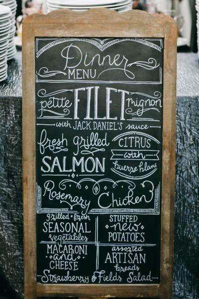Chalkboard menu: http://www.stylemepretty.com/little-black-book-blog/2014/10/08/classic-black-white-cedarwood-wedding/ | Photography: Nyk + Cali - http://nykandcali.com/