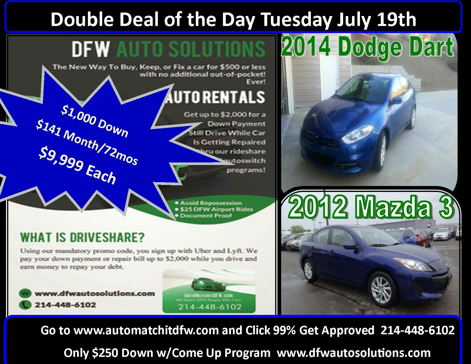 2 Cool 1 Owner Compacts For Under $10k. 2012 Mazda 3 And 2014 Dodge