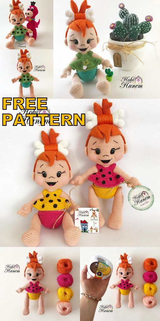 Amigurumi Doll Pebbles Flintstone Free Crochet Pattern - Amigurumi Patterns #amigurumis