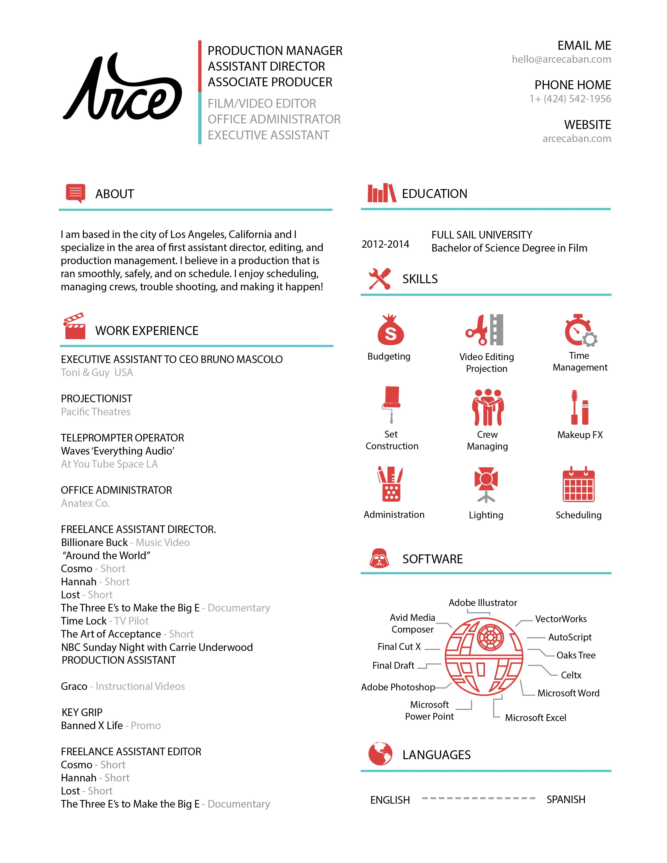 Filmmaker Clean And Creative Resume Resume Design Creative Resume Design Resume Layout