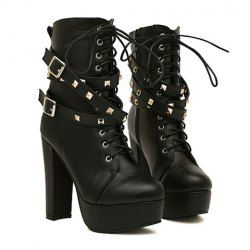 9a051afaab68  25.18 Punk Style Women s Short Boots With Belt and Rivets Design ...