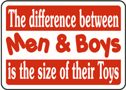 The difference between Men & Boys is the size of their Toys Sign