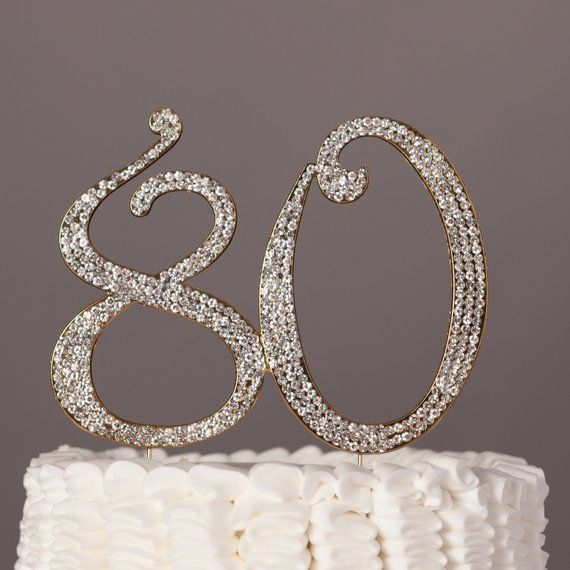 80 Silver Rhinestone Cake Topper Eighty 80th Birthday Party Decorations Supplies