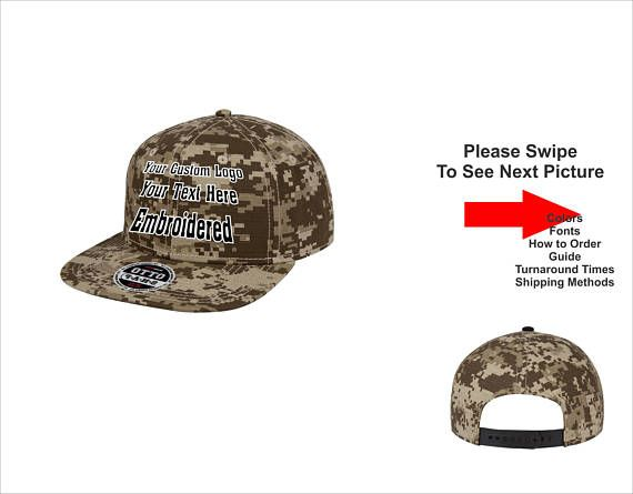 Custom Hat  Custom Logo Hat   Custom Text Hat  Flat Bill Snapback