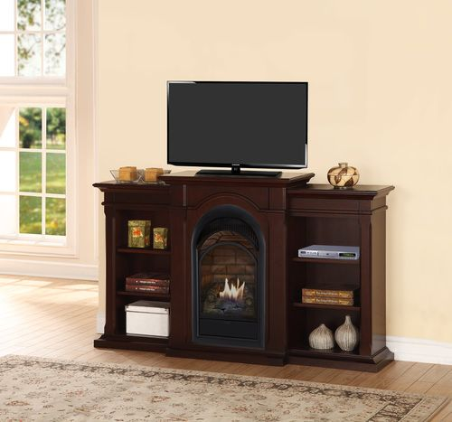 Duluth Forge Dual Fuel Ventless Gas Fireplace With Bookshelves 15 000 Btu T Stat Chocolate Finish Gas Fireplace Fireplace Fireplace Bookshelves Ventless gas fireplace entertainment center