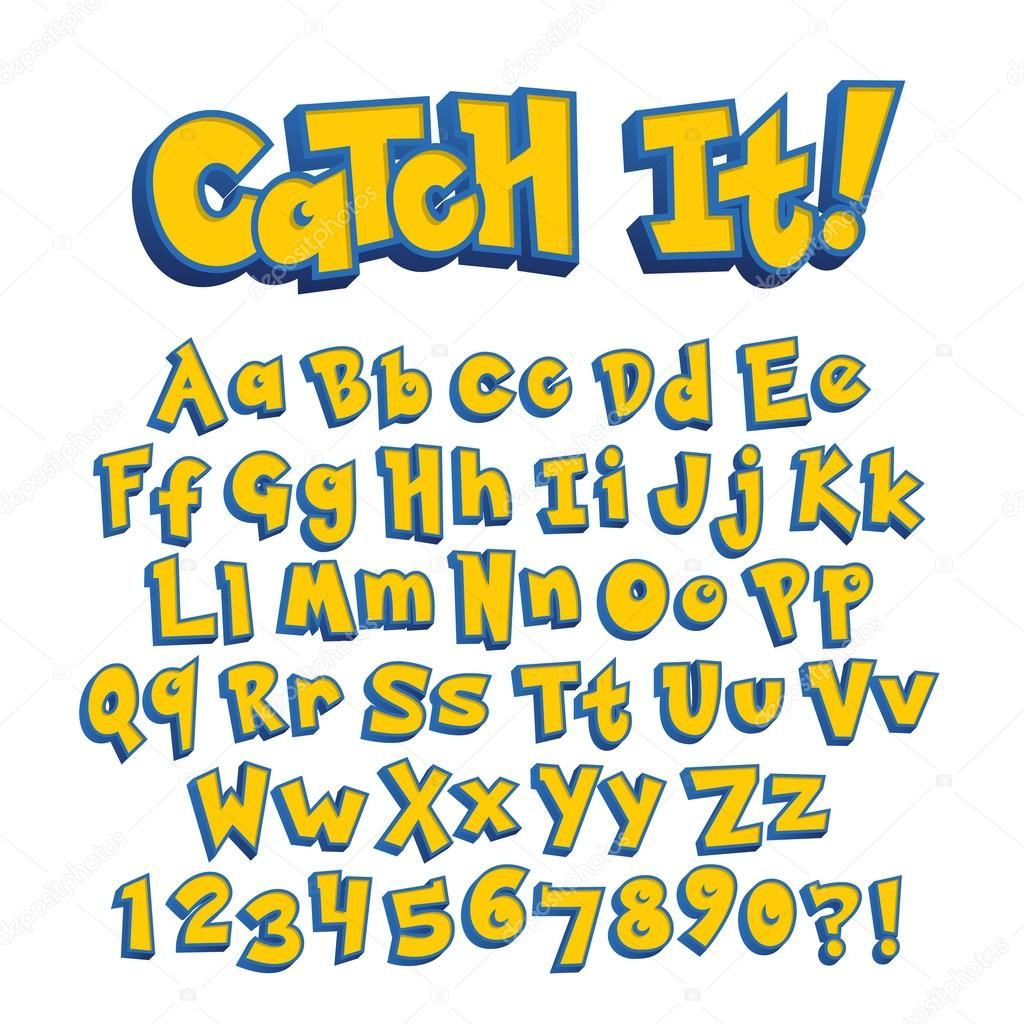 Pokemon Style Game Alphabet Font Pokemon Font Fonts