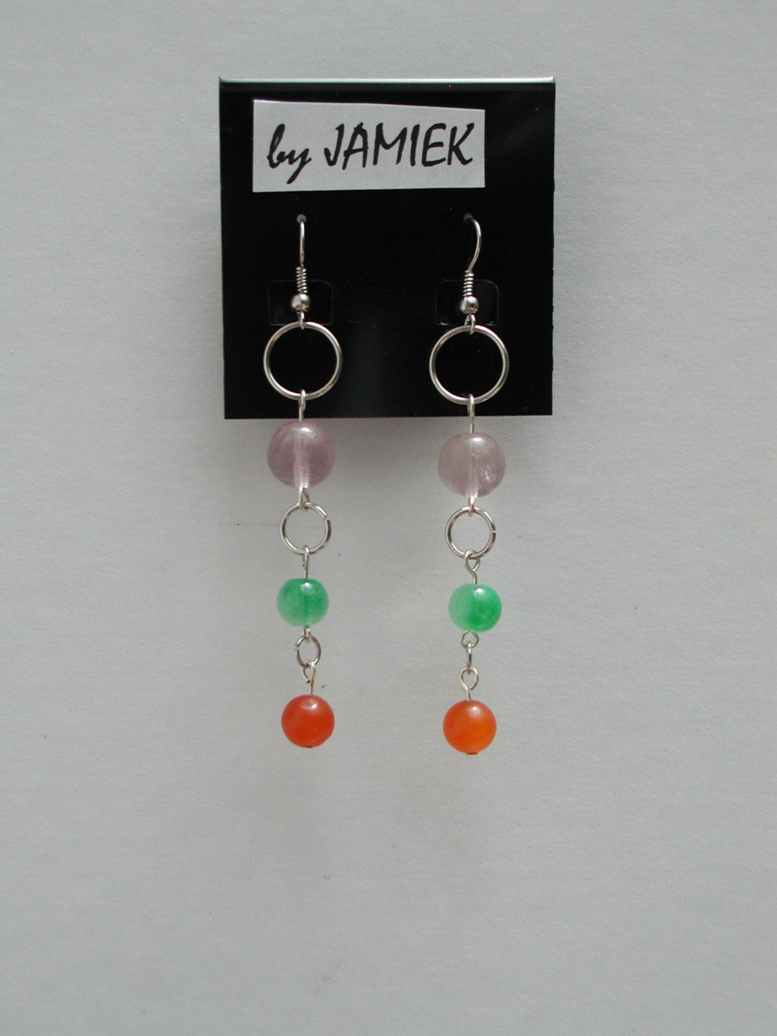 Earrings Multi Colored Beads Ring Chain Dangles in Silver Tone by rrdesigns561 on Etsy