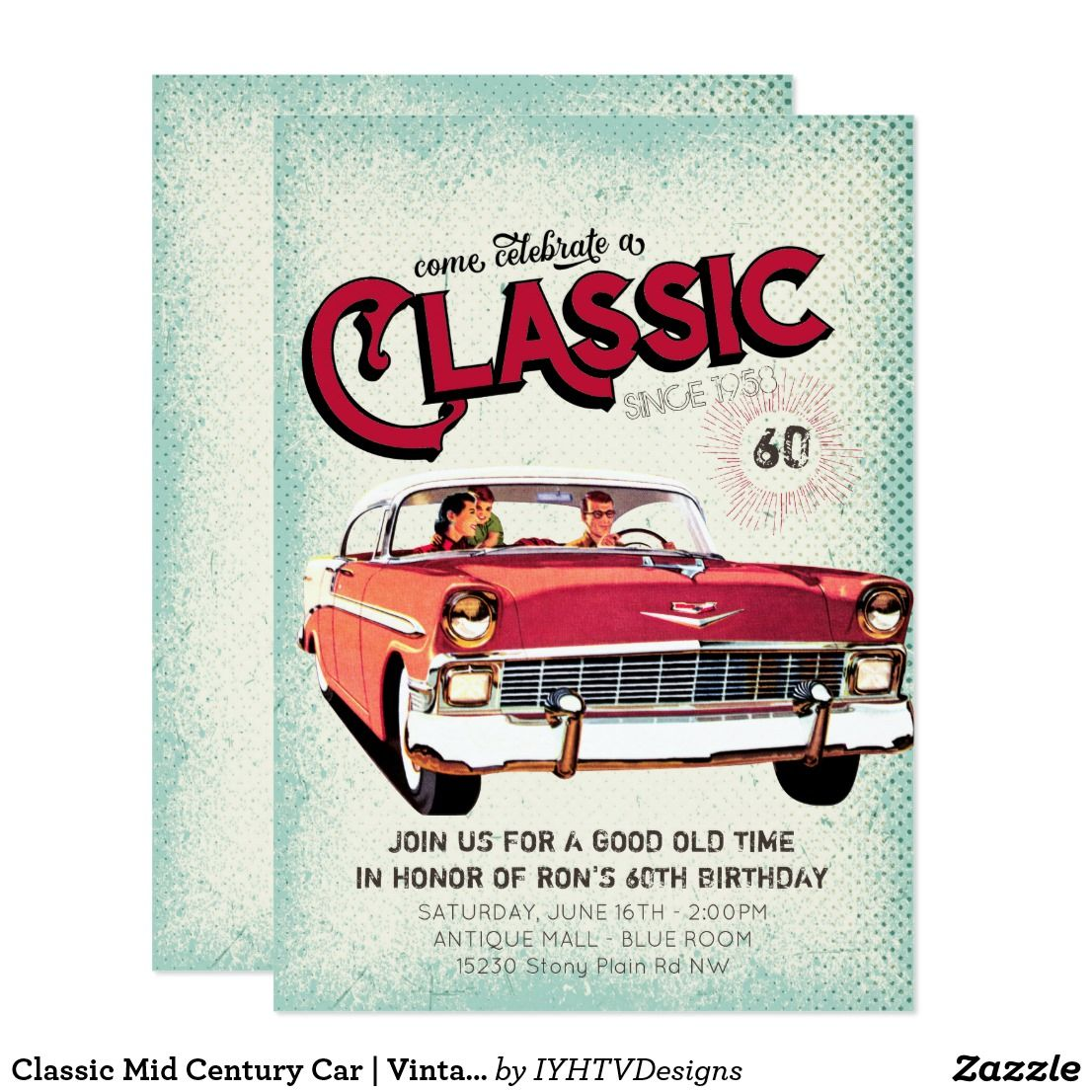 Classic Mid Century Car | Vintage 60th Birthday Invitation | Party ...