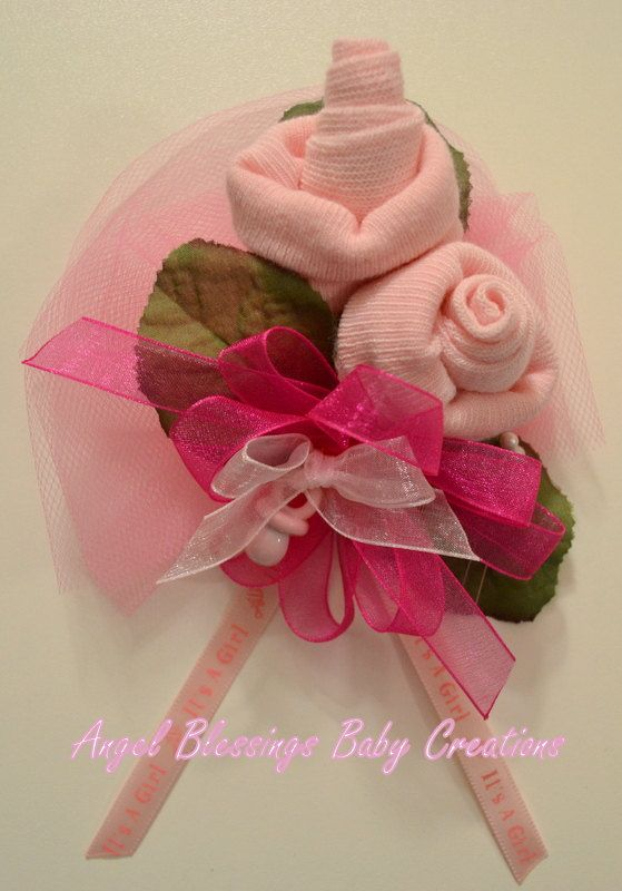 Baby Sock Corsage Baby Girl Shower Corsage For Mother To Be
