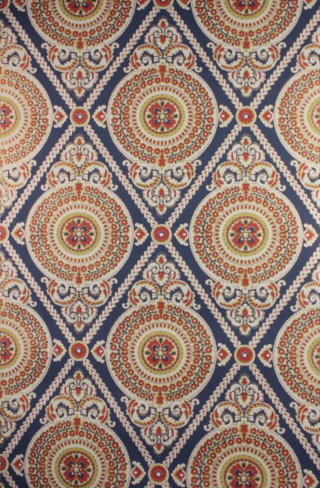 Blauw Rood Medaillon Behang Swiet Pattern Design