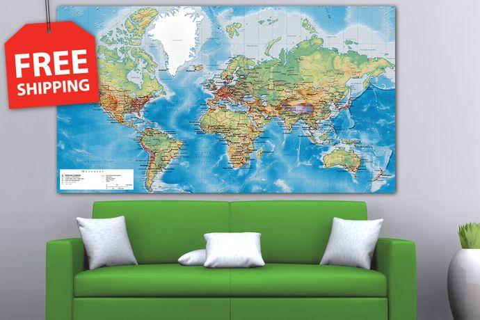 Extra large world map panel set detailed world map xxl stretched extra large world map panel set detailed world map xxl stretched canvas world map gumiabroncs Images