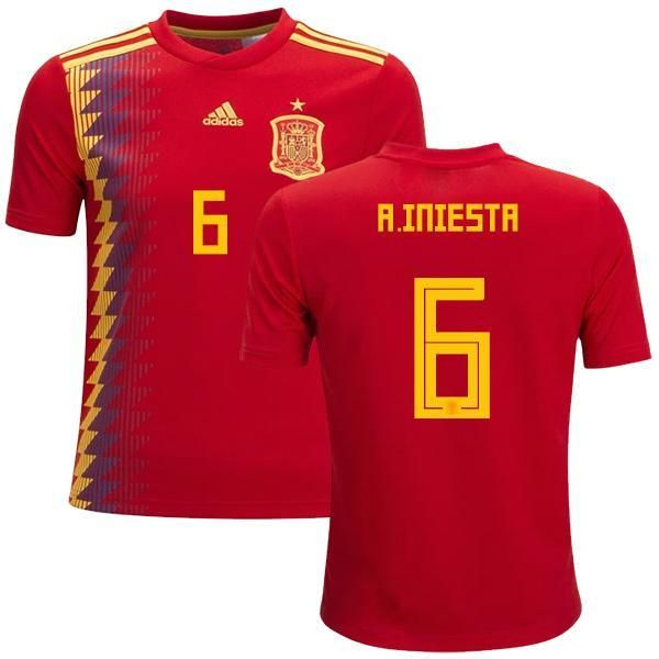 2b99269eb Men  6 Andrés Iniesta Jersey Home Spain National 2018 FIFA World Cup ...