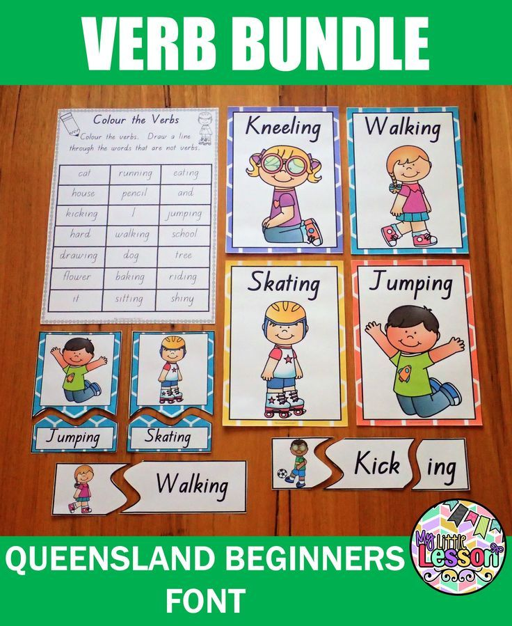 Verb Bundle QLD Beginners Font Worksheets, Posters, and