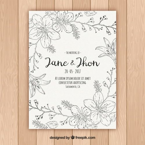 Download Floral Wedding Invitation In Hand Drawn Style For Free